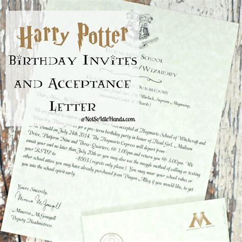 How Do College Acceptance Letters Take To Arrive Harry Potter Birthday Invitations And Authentic Acceptance Letter And Part 1
