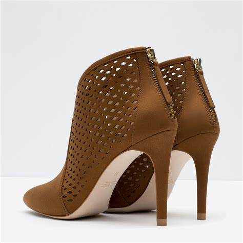 zara cut work high heel ankle boots in brown lyst