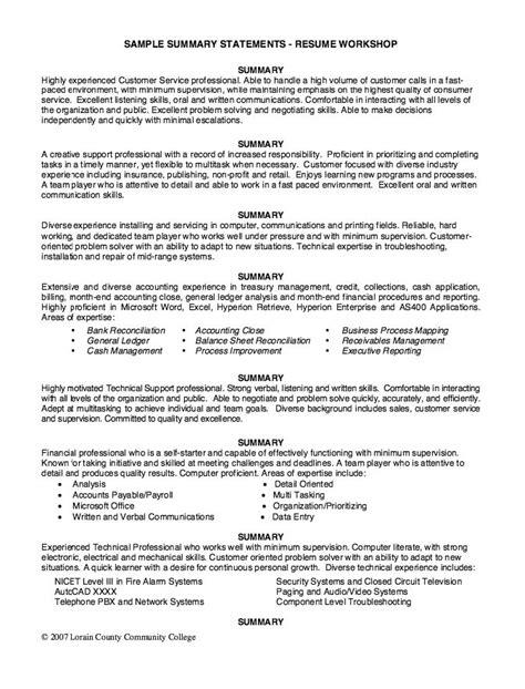 Resume Summary Statement Education sle summary statements resume workshop http