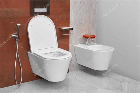 bidet modern toilet and bidet in a modern bathroom stock photo