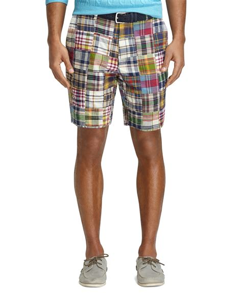 Mens Patchwork Shorts - brothers 9 patchwork madras shorts in multicolor