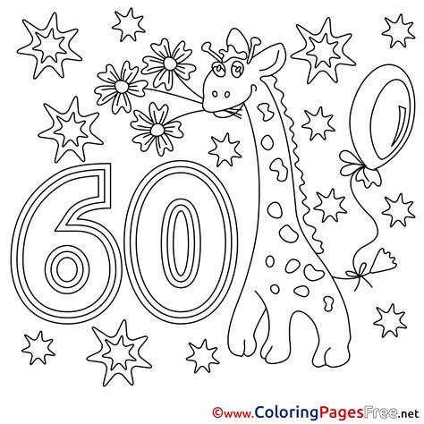 60 Coloring Page by 60 Years Printable Happy Birthday Coloring Sheets