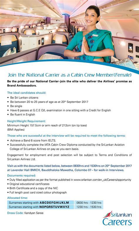 cabin crew vacancies vacancies cabin crew member srilankan