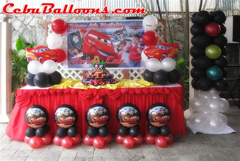 balloon decoration cars theme lightning mcqueen balloon decoration at sugbahan cebu