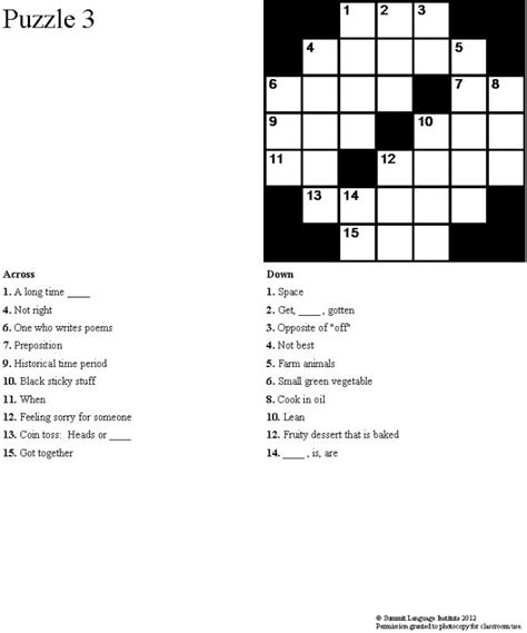 easy crossword puzzles in english summit language institute easy esl crossword puzzles book 4