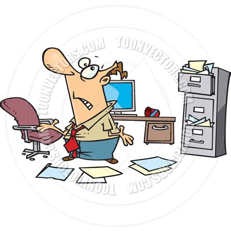 Cartoon Disorganized Office by Ron Leishman   Toon Vectors