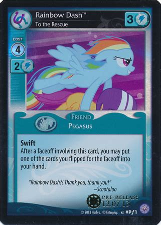Gift Card Rescue Coupon - mlp rainbow dash to the rescue ccg cards mlp merch