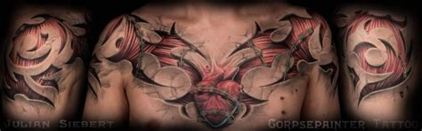 chest tattoo muscle chest 3d muscle tattoo by corpse painter