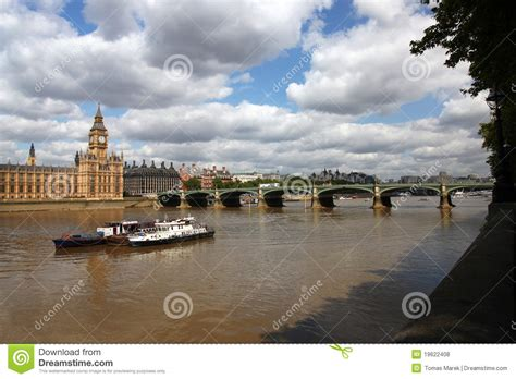 big boat in london big ben with boats in london uk royalty free stock photos