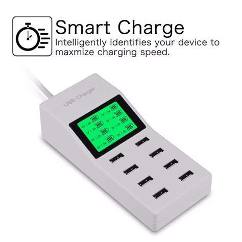 multi usb charger 8 usb ports us eu uk multi charger with lcd screen travel