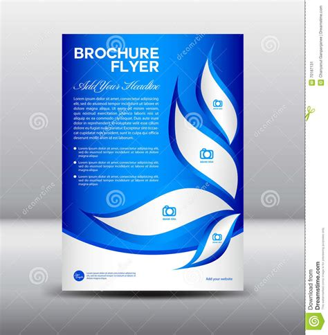 Blue Brochure Flyer Template Newsletter Design Leaflet Template Stock Vector Illustration Blue Flyer Template