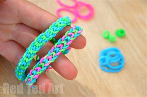 hir band loom band rainbow looms inverted fishtail using your fingers red