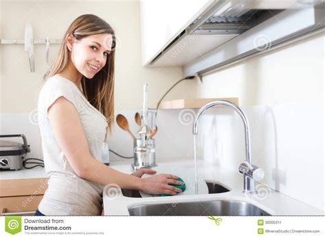 Kitchen Design Plan by Woman Doing Dishes Stock Image Image 30005311