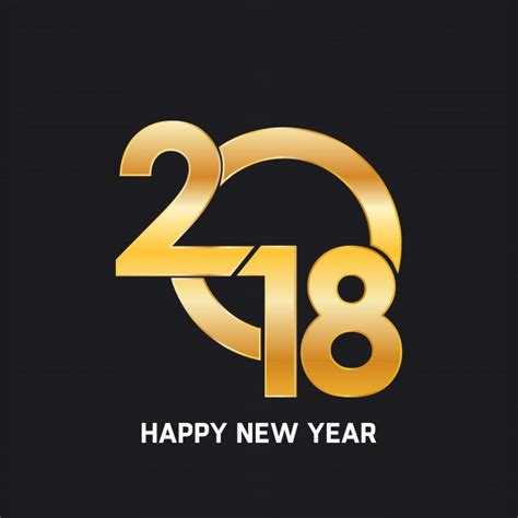 happy new year 2018 golden text design vector free download