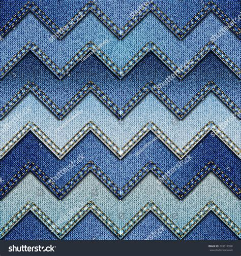 Denim Patchwork Fabric - seamless background pattern chevron patchwork denim stock