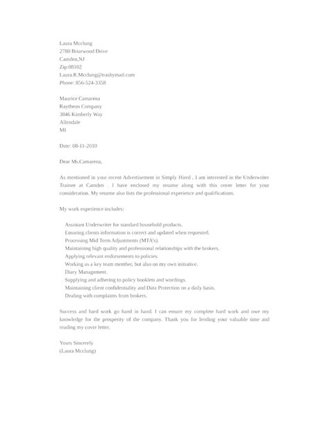 basic underwriter trainee cover letter sles and templates