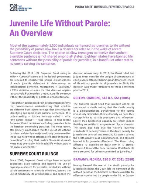 Juvenile Without Parole Essay by Juvenile Without Parole