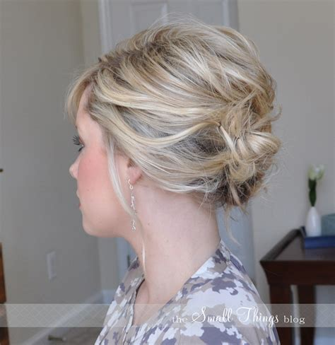updo hairstyles for short hair easy the messy side updo the small things blog
