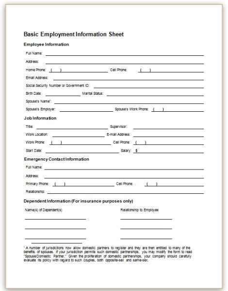 employees information sheet form specifications