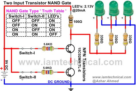 pnp transistor and gate nand gate using npn transistor iamtechnical