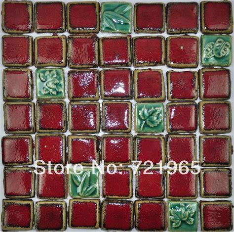 hand craft red porcelain mosaic tiles backsplash kitchen