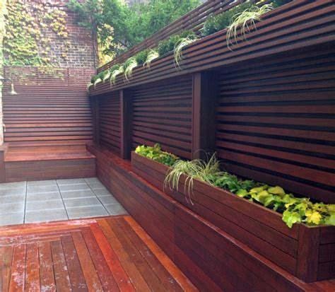 Privacy Fence Planter Box by Nyc Terrace Wood Fence Deck Patio Privacy Ipe