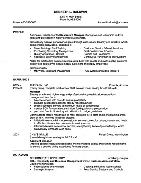 restaurant manager resume sles restaurant manager resume