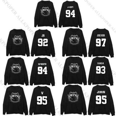 Kaos Kpop T Shirt Bts Nickname Bangtan Bomb V kpop bts sweater unisex bangtan boys hoodie jung kook jimin v sweatershirt suga ebay