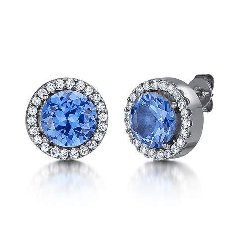 Earring Titanium 1 Titanium And Blue Stud Earrings Titanium Earrings At