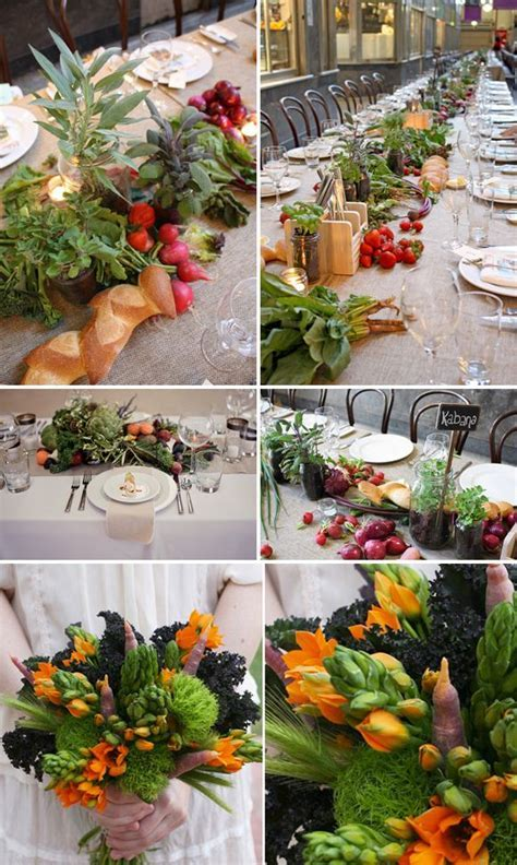 Edible Table Runners, fruit and vegetable wedding decor