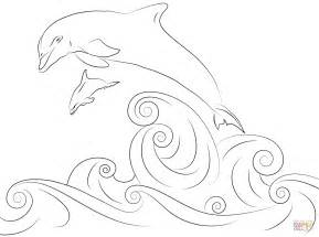 Dolphins Jumping Out Of Water Coloring Page Free Dolphin Coloring Pages To Print Out