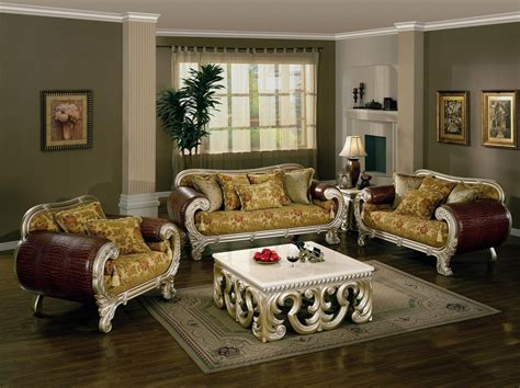 unique living room set transitional sofa group  gold floral upholstery living room