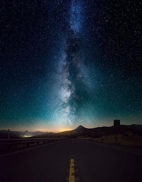 night starry sky horizon ocean stars
