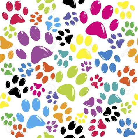 clipart color background  dog paws   cliparts