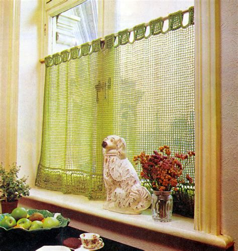 cafe curtain patterns crochet pattern lace cafe curtain filet vintage by