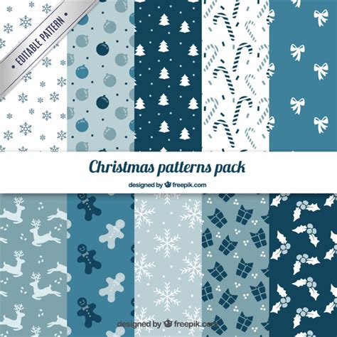 christmas pattern blue blue christmas patterns pack vector free download