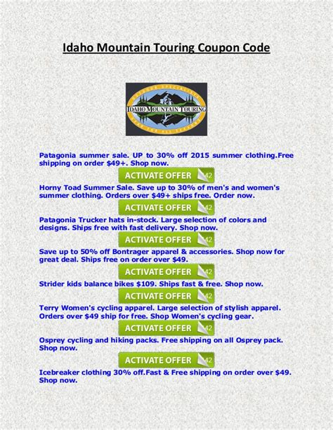designmantic code idaho mountain touring coupon code