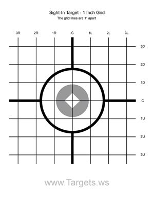 printable grid shooting targets sight in target 1 1 inch grid airguns pinterest