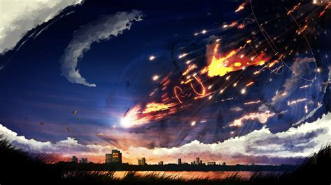 anime landscape android wallpaper download 1920x1080 anime landscape meteor clouds