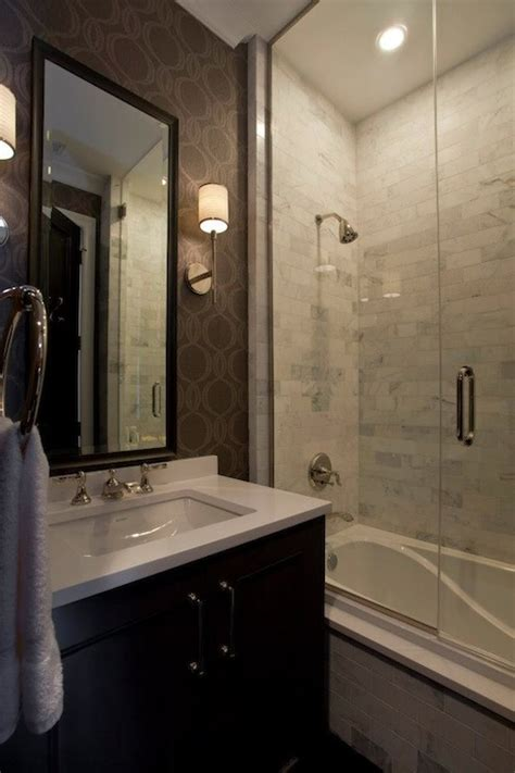 dark wood tile bathroom small glass shower design contemporary bathroom