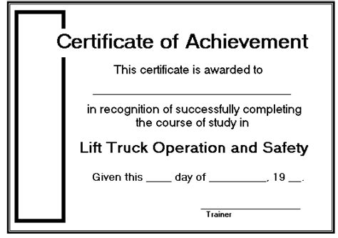 forklift certificate template cards course manager s guide to lift truck demonstrations