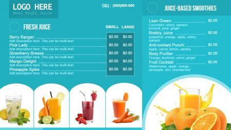 Juice Signage Menuboard Design From Dsmenu Juice Menu Template