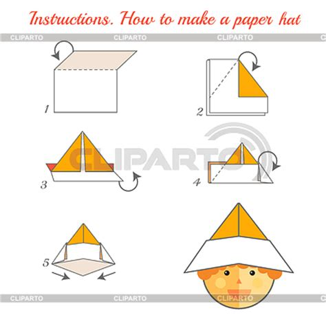 How To Make A Paper Hat Step By Step - origami for serie of high quality graphics cliparto