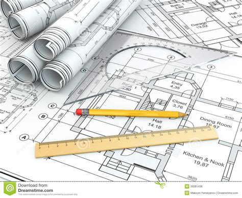 free drafting tool concept of drawing blueprints and drafting tools stock