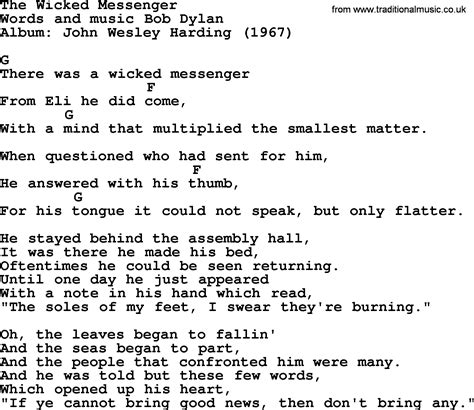 printable lyrics popular wicked bob dylan song the wicked messenger lyrics and chords