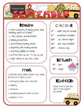 Monthly Class Newsletter Templates By Mrs Ricca S Kindergarten Tpt Monthly Newsletter Template Word