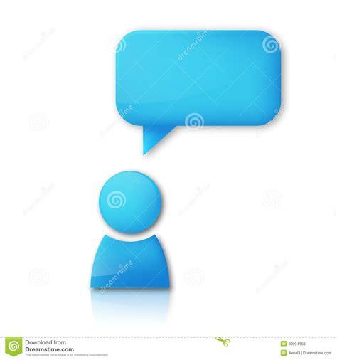 bobble person persona con la burbuja discurso icono azul vector