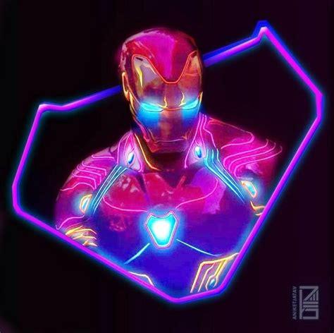 edited bright neon iron man iron man marvel avengers