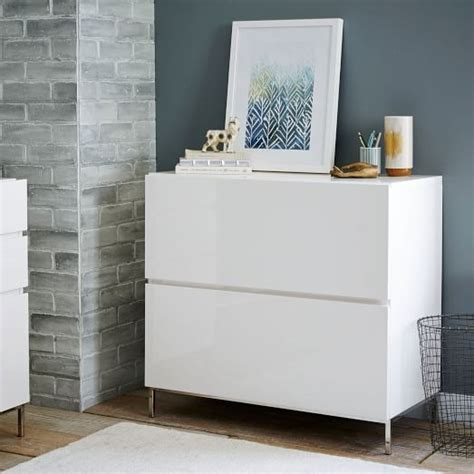 white gloss office cabinet lacquer storage modular lateral file west elm