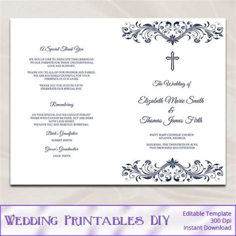 wedding church program template catholic wedding program template diy navy blue cross
